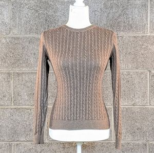 Izod Taupe Cable Knit Crew Neck Sweater Size Small